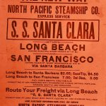 Thumbnail: A poster announces the first passenger service from the new Port of Long Beach in 1912.