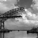 Thumbnail: The Gerald Desmond Bridge under construction; building began in 1965 and the bridge opened in 1968.