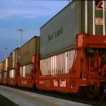 Thumbnail: Double-stacked containers on rail cars at the ICTF.