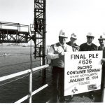 Thumbnail: Port staff celebrates the completion of work on Pacific Container TerminalÕs wharf modifications as part of the Pier J expansion, 1994.
